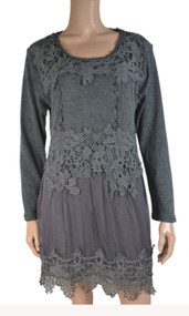 pretty angel gray Linen Blend Embroidered Tunic