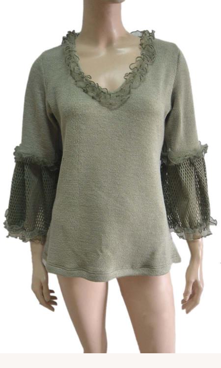 pretty angel green Linen Blend Crochet Sleeve Tunic
