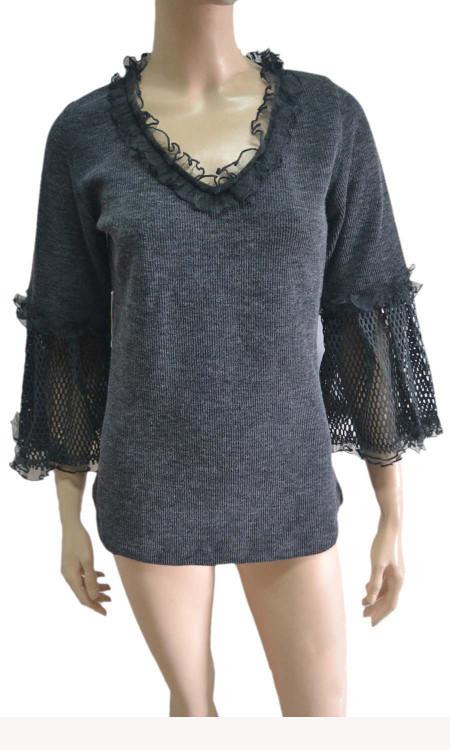pretty angel gray Linen Blend Crochet Sleeve Tunic