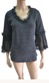pretty angel gray Linen Blend Crochet Sleeve Tunic