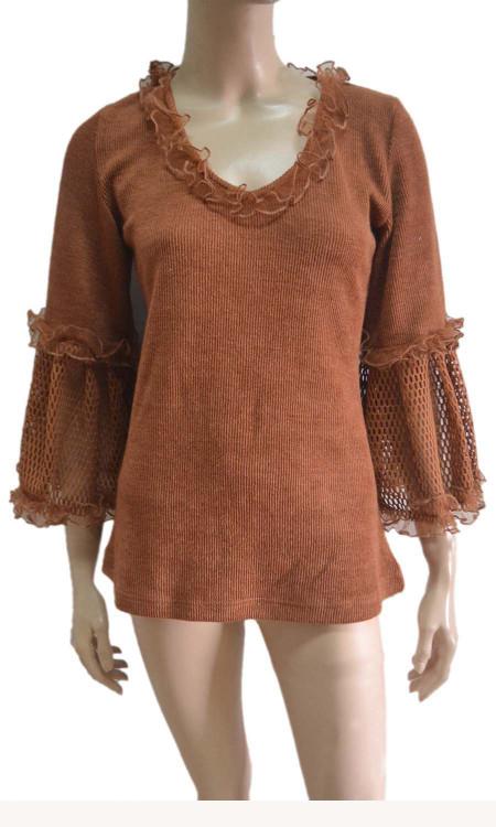 pretty angel rust Linen Blend Crochet Sleeve Tunic