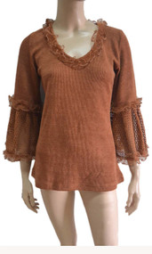 pretty angel rust Linen Blend Crochet Sleeve Tunic