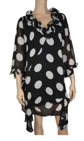 pretty angel Black & White Polka Dot Tunic