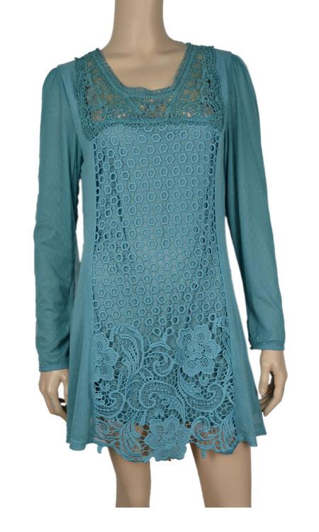 pretty angel Aqua Crochet Linen Blend Tunic