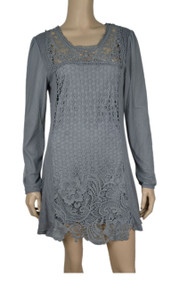 pretty angel Gray Crochet Linen Blend Tunic