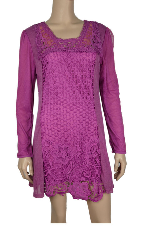 pretty angel Mauve Crochet Linen Blend Tunic