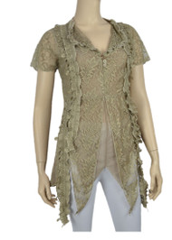 pretty angel Brown Embellished V Neck Top
