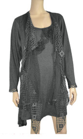 Dark Gray Crochet Layered Tunic Plus