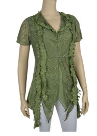 pretty angel Green Embellished V Neck Top