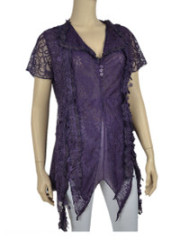 pretty angel Purple Embellished V Neck Top