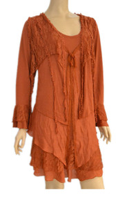 pretty angel Rust Lace Layered Tunic Plus