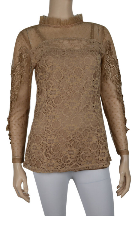 pretty angel Brown Floral Lace Top Set