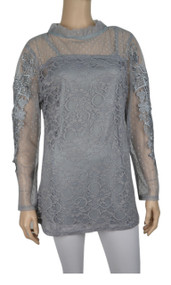 pretty angel Gray Floral Lace Top Set