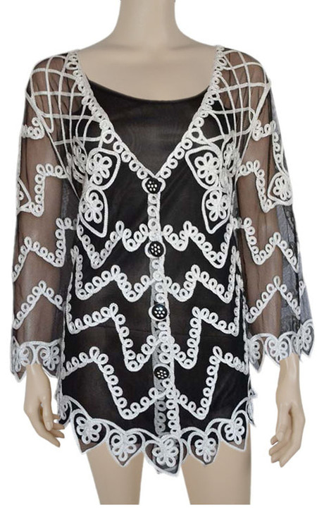 pretty angel Black & White Embroidered Cardigan