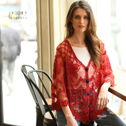 pretty angel Red Embroidered Cardigan