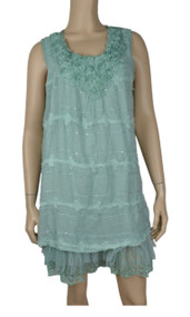 pretty angel Aqua Embellished Scoop Neck Tunic