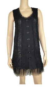 pretty angel Black Linen Blend Button Up Tunic