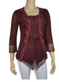 pretty angel Dark Red Square Neck Layered Tops