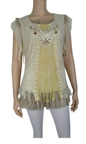Caramel & Brown Lace Overlay Embroidered Top
