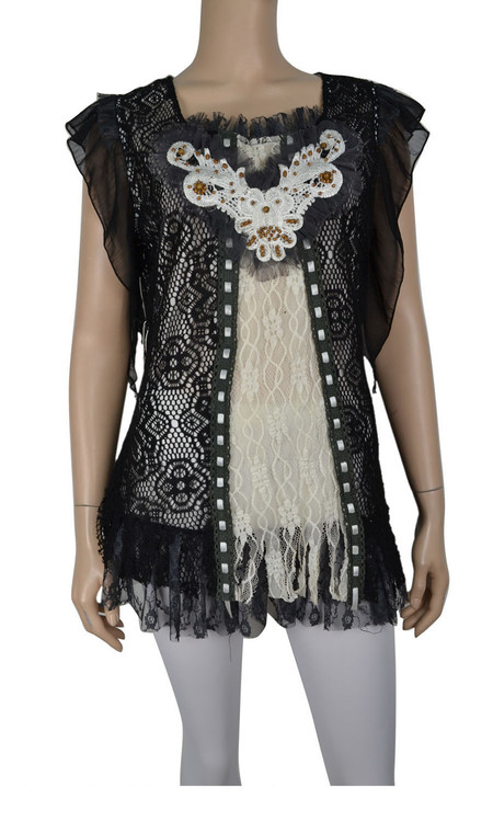 pretty angel Black & White Lace Overlay Embroidered Top