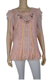 pretty angel Peach/Peach Lace Overlay Embroidered Top