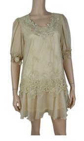 pretty angel Caramel Layered Silk Blend Tunic