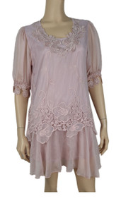 pretty angel Mauve Layered Silk Blend Tunic