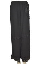 pretty angel Black Floral Silk Blend Pants