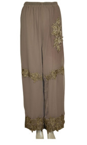 pretty angel Ecru Floral Silk Blend Pants