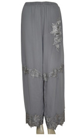 pretty angel Gray Floral Silk Blend Pants