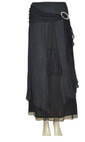 pretty angel Black Buckle Skirt