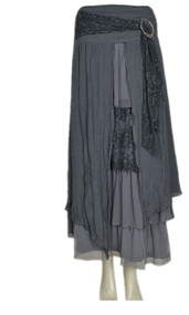 pretty angel Gray & Dark Gray Buckle Skirt