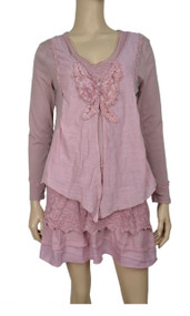 pretty angel Mauve Layered Linen Blend Tunic