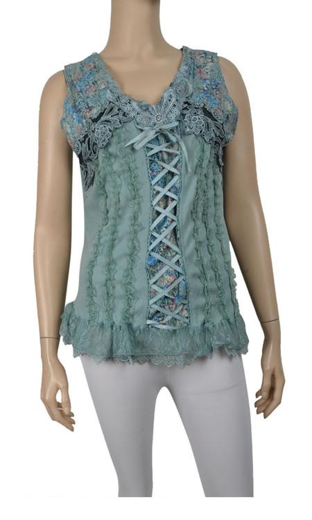 pretty angel Aqua Lace Up Sleeveless Tank Tops