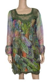 pretty angel Green & Light Green Floral Silk Blend Tunic