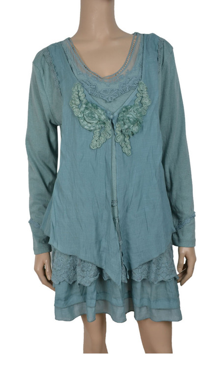 pretty angel Aqua Layered Linen Blend Tunic