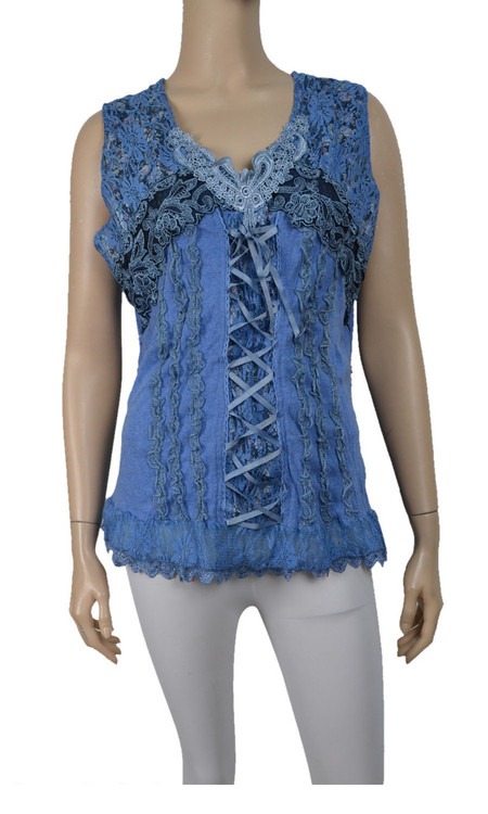 pretty angel Blue Lace Up Sleeveless Tank Tops