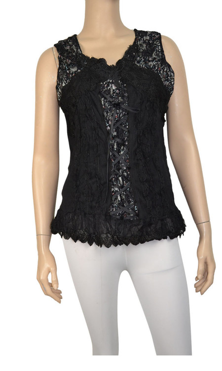 pretty angel Black Lace Up Sleeveless Tank Tops