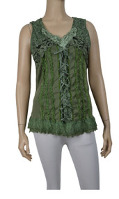 pretty angel Green Lace Up Sleeveless Tank Tops