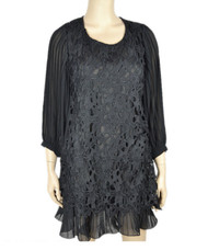 pretty angel Black Floral Layered Tunic