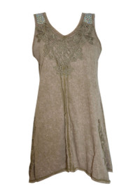 pretty angel Brown Embroidered Sleeveless Tunic