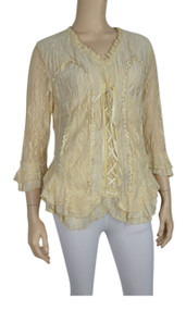 pretty angel Caramel Lace Up Silk Blend Top