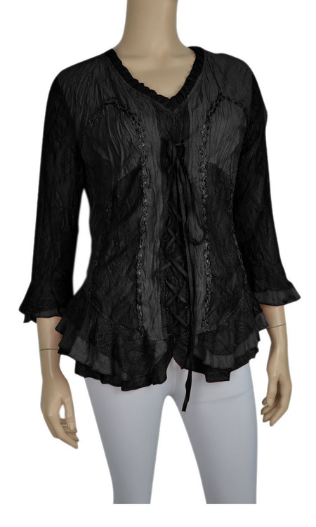 pretty angel Black Lace Up Silk Blend Top