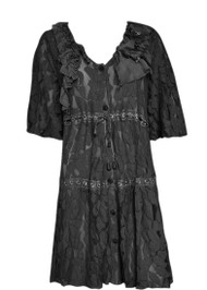 pretty angel Black Floral Linen Blend Tunic