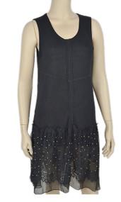 pretty angel Black Lace Sleeveless Linen Blend Tunic