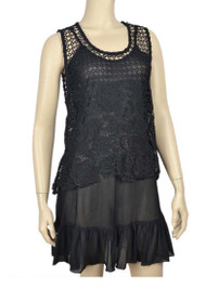 pretty angel Black Sheer Crochet Sleeveless Top