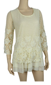 pretty angel Caramel Crochet Tunic