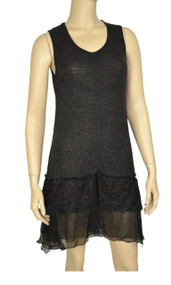 pretty angel Black Lace Linen Blend Tunic