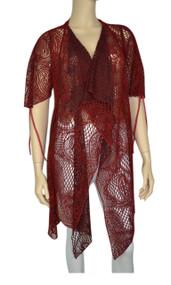pretty angel Red & Black Crochet Vest