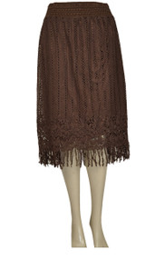pretty angel Coffee Lace fringe Skirt